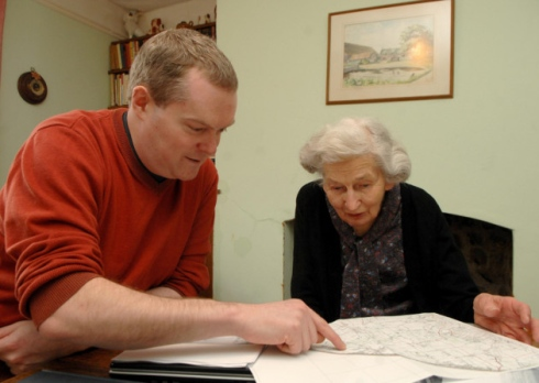 Richard Hoggett and Mary Trett working on The Book of Happisburgh